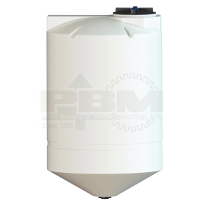 500 Gallon Cone Bottom Tank - 30 Degree Slope - White